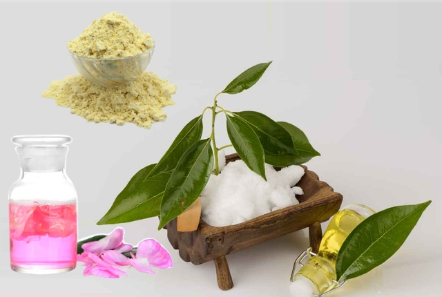 Camphor Oil, Rose Water And Gram Flour